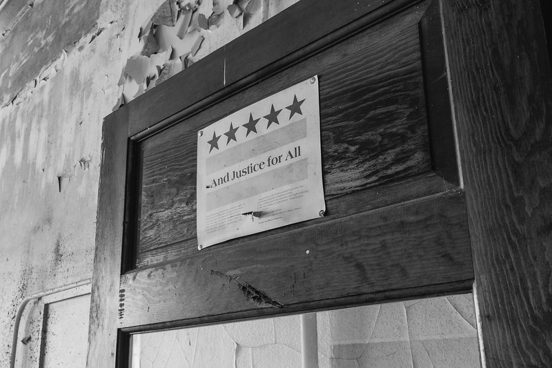 Old lunch room door B&W 01