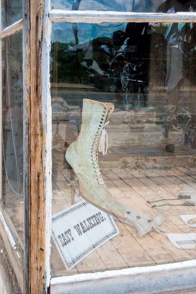 Boots in store window