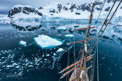 View from the rigging, Antarctic peninsula, 2015