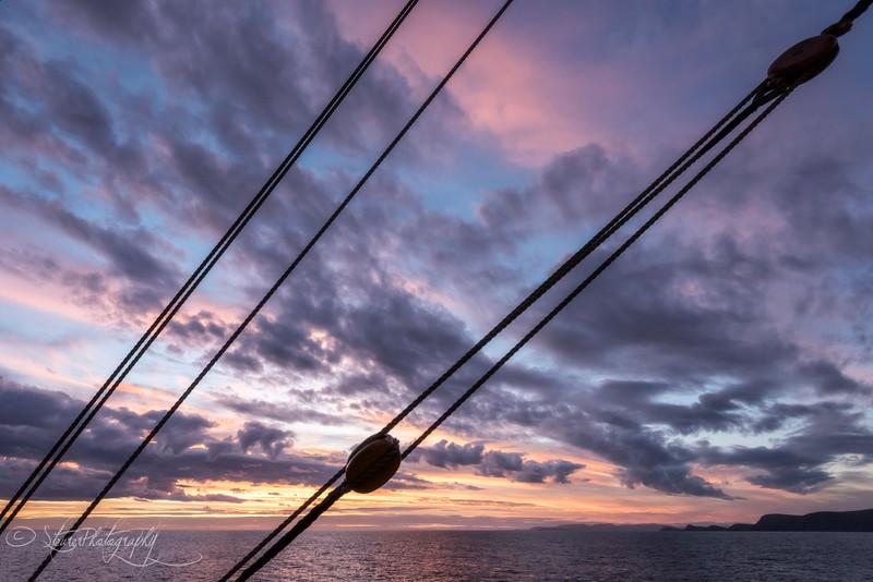 Sunset on board of tall ship Europa, Near Cape Horn, 2015
