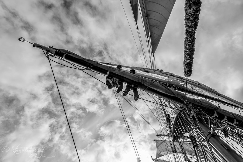 Helping out in the rigging, Drake passage, 2015