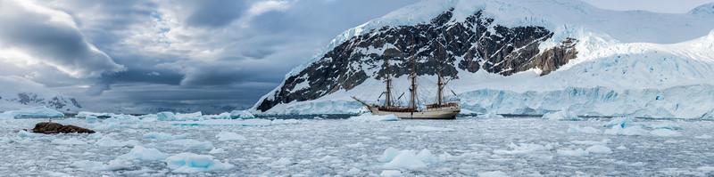 "Bark ""Europa"" at Neko Harbour, Antarctic peninsula, 2015"