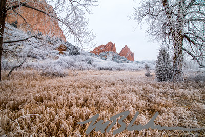 Distant Red Rocks and Heavy Frost