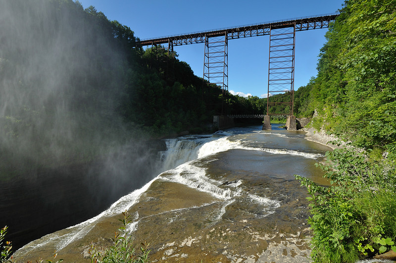 The high bridge and Upper Falls at Letchworth State Park.  Nikon D5000 (June 2010).