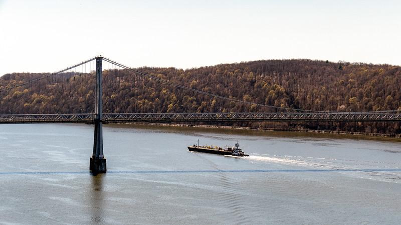 Barge under the Mid-Hudson bridge