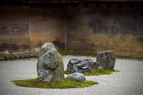 Ryoanji Temple.  A famous rock garden in Kyoto, Japan.
