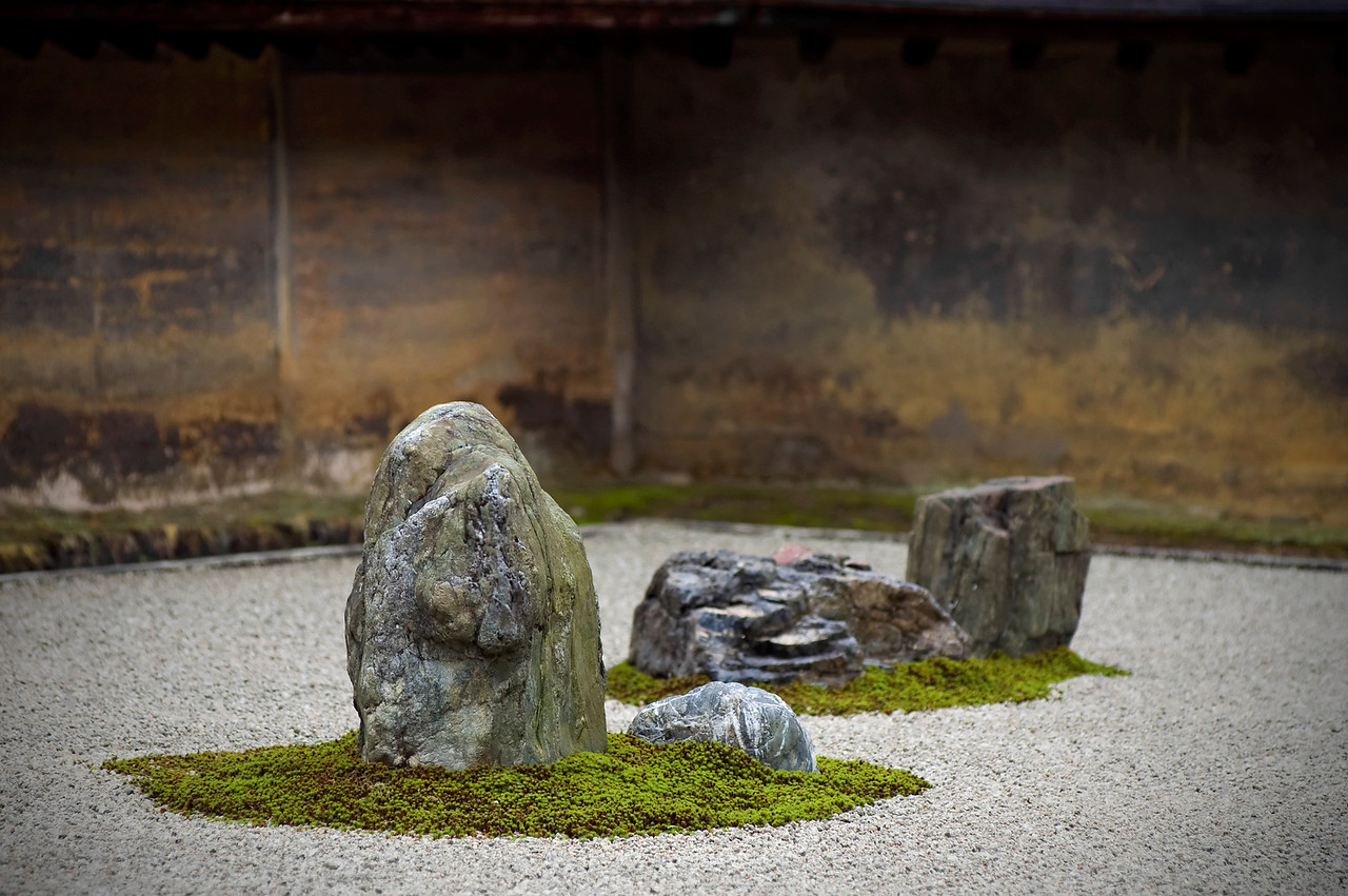 Ryoanji Temple.  A famous rock garden in Kyoto, Japan.