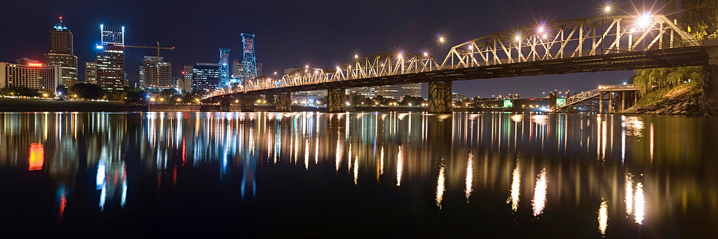 "Hawthorne Bridge.  Portland, Oregon. This is an 8 image panorama.  The amount of detail at full resolution is excellent.  Sized to print at 10"" x 30"" or 12"" x 36"" - special order at 20"" x 60"" is available."