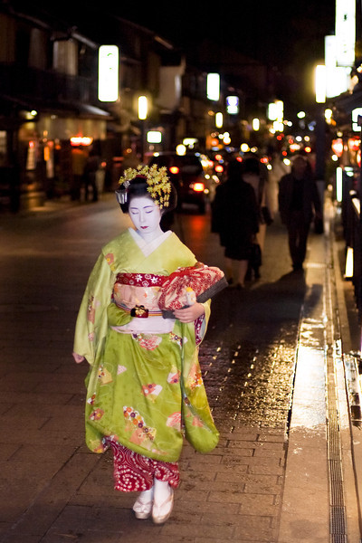 Max print size 12x18.<br /> <br /> This is a real Maiko (apprentice Geisha) on her way to an appointment in Kyoto, Japan.
