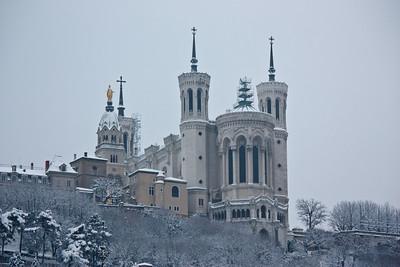 Lyon sous la neige - Fourvière