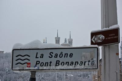 Lyon sous la neige - Quai de Saone