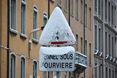 Lyon sous la neige - Panneau