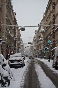 Lyon sous la neige - Rue Edouard Herriot