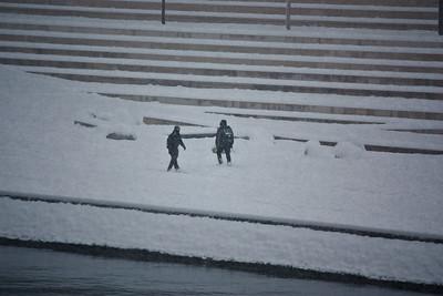Lyon sous la neige - Quai du Rhone