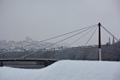 Lyon sous la neige - Passerelle du Palais de justice