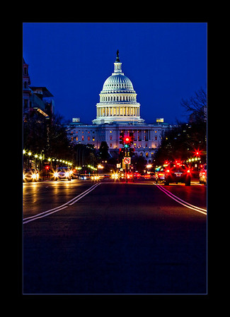 U.S. Capitol from Penn Ave (stop light symbolic?)