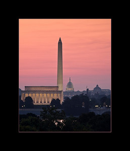 Dawn breaks over the National Mall