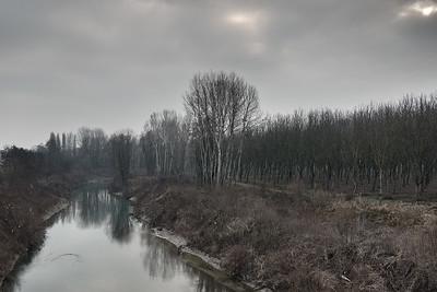 Panaro River - Ponte Sant'Ambrogio, San Cesario sul Panaro, Modena, Italy - January 3, 2017