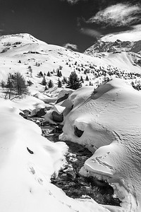 Torrente Frigidolfo - Valle dei Forni, Valfurva, Sondrio, Italy - April 2, 2018