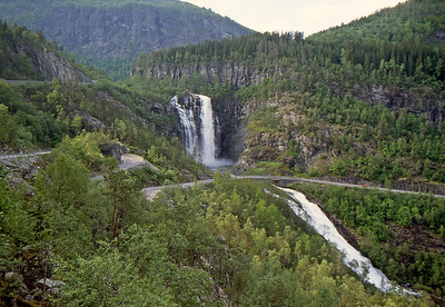Skjervefossen Waterfalls - Road 13, Norway - June 15, 1989