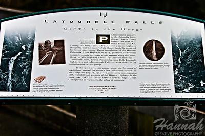 Latourell Falls Signage Columbia River Gorge Scenic Area, Oregon, U.S.A.  © Copyright Hannah Pastrana Prieto
