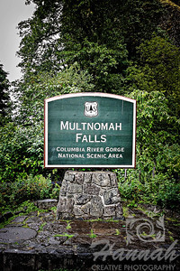Signage of Multnomah Falls