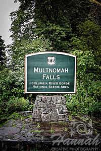 Signage of Multnomah Falls