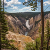 A view from Artist Point, overlooking the Lower Falls on the Yellowstone River in Yellowstone National Park