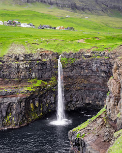 Waterfalls at the village of Gasadalur, Faroe Islands.