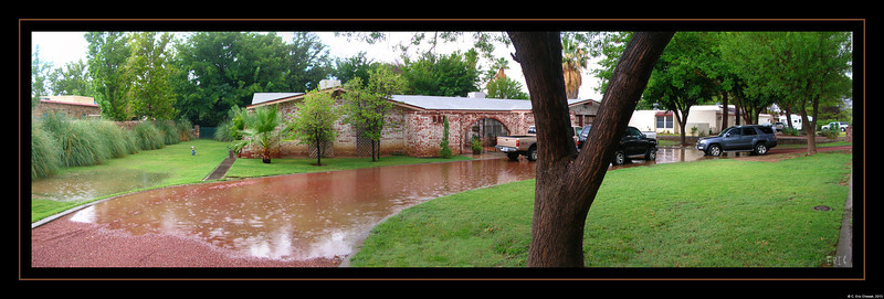July 23, 2013  A large thunderstorm dumped over an inch of rain in about an hour, flooding our driveway and yard.