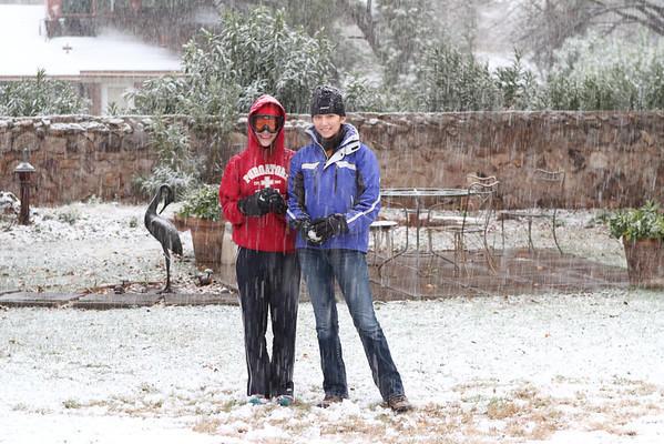 Jordan & Danielle, as the snow starts