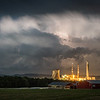 A storm with a history of producing hail is seen to the east of the Montour Power Plant in Washingtonville in Montour County, Pennsylvania.