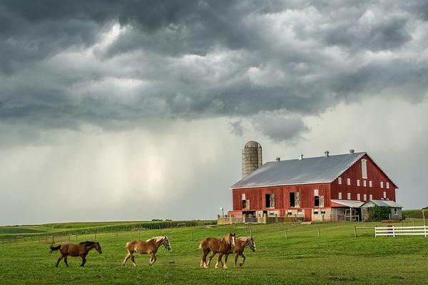 A line of storms moves through rural Pennsylvania.