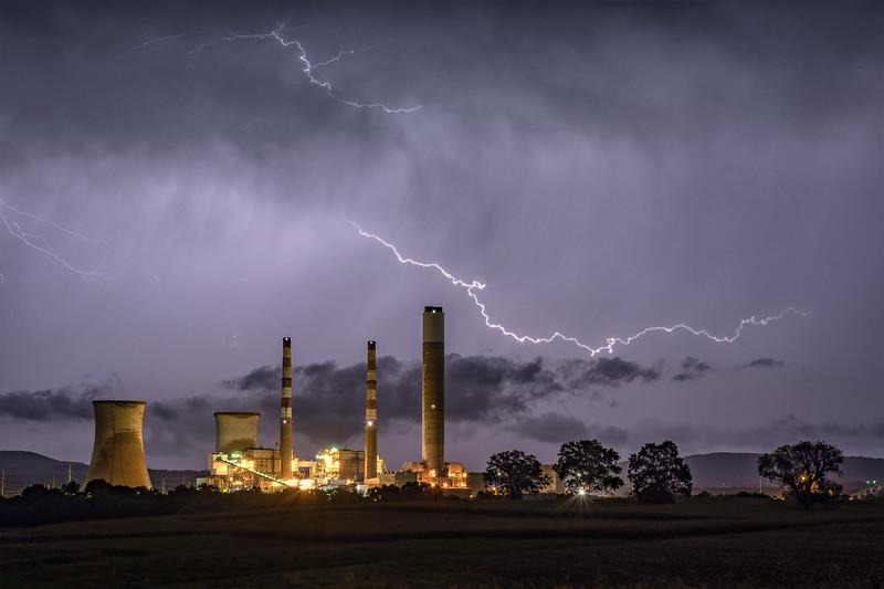 Lightning Over Montour Power Plant