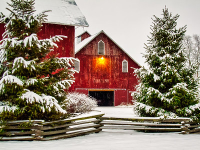 Red Barns and Snow