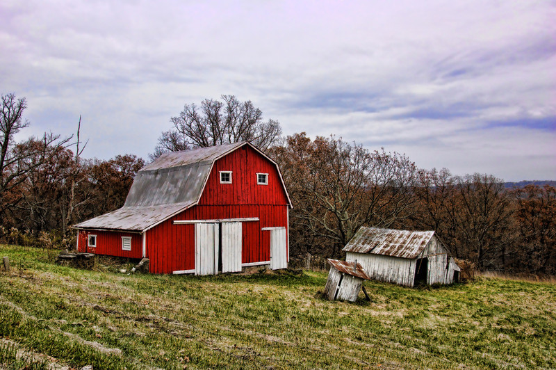 Gray Afternoon Red Barn
