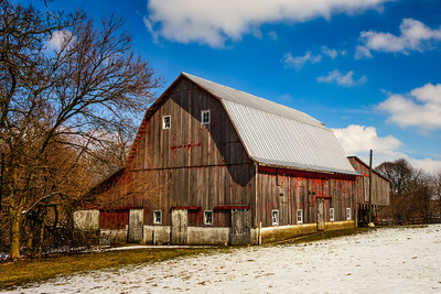 Large Weathered Red Barn