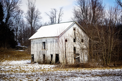 White Barn and Snow