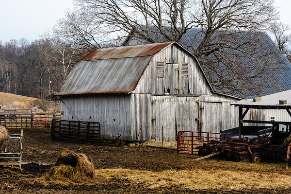 White Barn and Hay