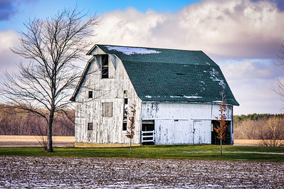 White Barn with Snow