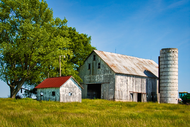 Barn and Shed on a Hill