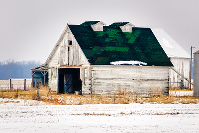 White Barn and Grain Bin
