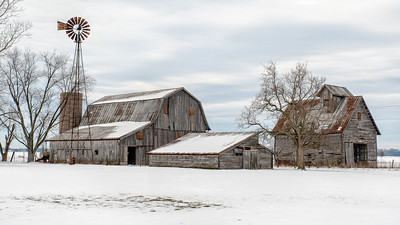Winter Farm Landscape and Barns