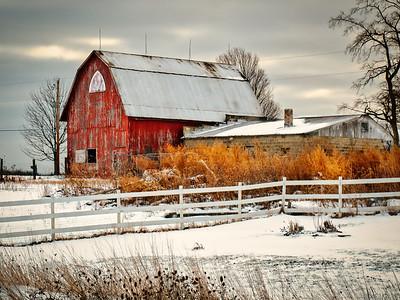 Winter Morning  Red Barn