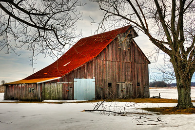 Winter Weathered Barn with New Door