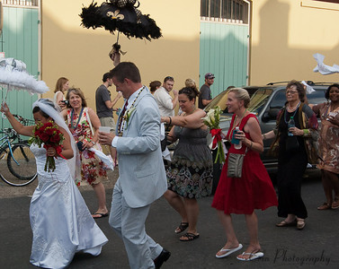 The bride and groom in a French Quarter wedding.