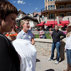 Tourists always love seeing a bride in Vail.