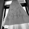 The bride's beautiful dress hanging at Eagle's Nest at the top of the gondola.