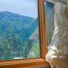Liz's dress hanging in East Vail.  It was a beautiful day in Vail as you can see out the window.