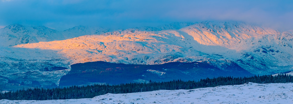 Last Light on Donald's Rocky Peak II - Sgurr Dhomhnuill (Ardgour), viewed from the top of Taobh Dubh (Morvern)